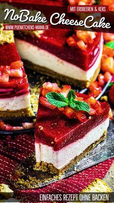No Bake Erdbeer-Cheesecake mit Cantuccini-Boden - Pünktchens Mama - einfach Rezept ohne Backen