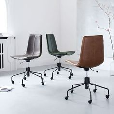 Slope Office Chair, Leather, Old Saddle Nut at West Elm - Office Furniture - Desk - Seating Swivel Office Chair, Home Office Chairs, Home Office Furniture, Cool Furniture, Office Decor, Modern Furniture, Furniture Stores, Modern Desk, Office Ideas