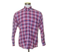 Vtg. Green Tag J.CREW White Fuchsia Pink Blue Tartan Plaid Light Button Shirt L #JCrew #ButtonFront
