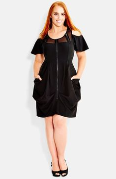 City Chic 'Army Girl' Mesh Detail Cold Shoulder Tunic (Plus Size) available at #Nordstrom