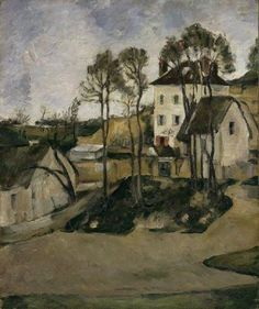 """""""The house of Dr Gachet at Auvers"""" By Paul Cézanne, from Aix-en-Provence, Provence, France (1839 - 1906) oil on canvas; 56 x 47 cm [Impressionism] Place of creation: Auvers-sur-Oise, France [It s a commune in the northwestern suburbs of Paris, France. It is located 27.2 km (16.9 mi) from the centre of Paris.]  Private Collection"""