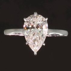 2.01 pear shaped diamond estate platinum engagement ring, 1950