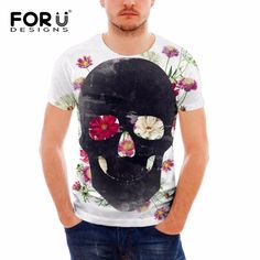 15.07$  Buy here - FORUDESIGNS Vintage Punk Skull Printing Short Sleeve T Shirt For Man 2017 Fashion Elastic Comfort Tee Shirt Men Streetwear Tops   #magazineonlinebeautiful