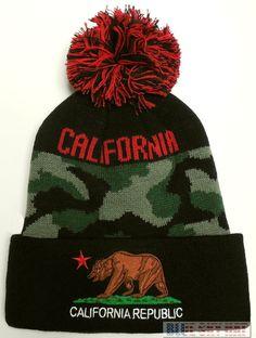 02fd19cbdfa New camo cali ca california republic flag bear pom beanie knit watch cap  ski hat