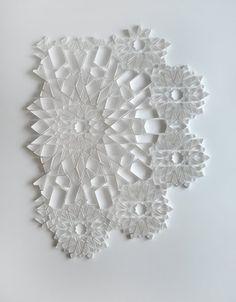 "Folded paper art sculpture - ""4 days in August""  by Matthew Shlian"