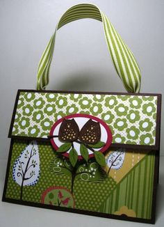 Cute gift bag made using scrapbook paper and a paper bag...so cute!