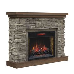 chimney free 54in w 5200btu brown ash wood veneer infrared quartz electric