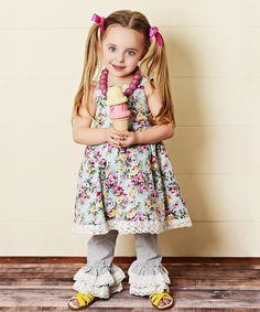 Look at this Oopsie Daisy Teal Floral Lace Dress & Ruffle Pants - Toddler & Girls on #zulily today!