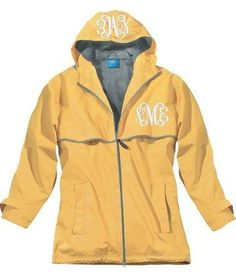 Monogrammed New England Rain Jacket-Buttercup
