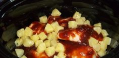 Crock-pot Hawaiian BBQ Chicken:  4-6 Frozen Boneless Chicken Breasts, 1 Bottle of Sweet Baby Ray's Original BBQ Sauce, and 1 20 Ounce Can of Pineapple Chunks(Drained). Cover and cook: 2-3 hours on HIGH or 4-6 hours on LOW.