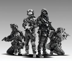 Character Concept, Character Art, Character Design, Ghost Soldiers, Future Soldier, Army Soldier, Combat Armor, Military Drawings, Military Action Figures