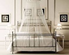 Bedroom Design, White Canopy Bed Design With Identical Lampshade Idea For Modern Bedroom Interior Concept Added Artistic Figure On Wall: Lovely Bedroom Designs with Canopy Beds Displaying Beautiful Charm Canopy Bed Drapes, Canopy Over Bed, Canopy Bedroom, White Canopy, Diy Canopy, White Curtains, Bed Canopies, Sheer Drapes, Beach Canopy