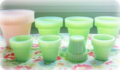 jadeite and pink milk glass-- my sister would love me forever!