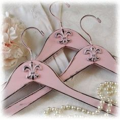 Set of 3 Shabby Pink Fleur de Lis Coat Hangers by alicewcollection, $16.50