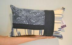 Decorative Patchwork Lumbar Pillow One-of-a-Kind by VanDijkDesigns Lumbar Pillow, Throw Pillows, Nautical Pillows, Patchwork Pillow, Fabric Design, Decorative Pillows, Unique Jewelry, Handmade Gifts, Sewing