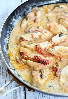 This dish is ALMOST a one skillet meal. The sauce is started in a saute' pan and then poured over everything in the skillet. Serve with vegetable
