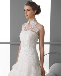 158 FORCAL / Wedding Dresses / 2013 Collection / Alma Novia / Shown with sleeveless Bolero (close up)