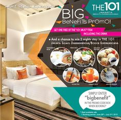 Get Big Benefits when staying at THE 1O1 Jakarta Sedayu Darmawangsa: one main course, one beverage, and a chance to be a monthly winner of THE 1O1 Bogor Suryakancana's hotel voucher.  For more info, click Visit Site.