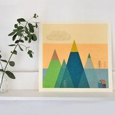 Affiche imprimée Montagnes - Illustration originale signée Mini labo
