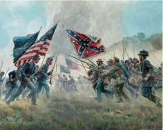 """The power of the legendary rebel yell was an odd mixture-part hunting shout, part hog-call, part excitement, part fear, and part bravado. Among the many battlefields over which it arose was Second Manassas. The Southerners charged into combat, a veteran of the battle would recall, """"with a wild Confederate yell"""". This was created by famous artist Mort Kunstler: Item 308: 1000 piece jigsaw puzzle: Finished size: 24"""" X 30"""""""