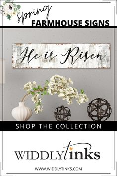 Perfect for Easter or anytime, this He is Risen sign is dramatically proportioned to dress up your space with class and elegance. Designed to look old, rusty and chippy, this gorgeous design adds vintage charm to your spring farmhouse decor. Unique Wall Decor, Rustic Wall Decor, Rustic Signs, Entryway Decor, Canvas Wall Decor, Wall Art Decor, Canvas Art, Custom Canvas Prints, He Is Risen
