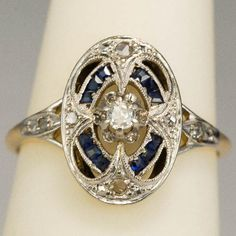 Art Deco diamond and sapphire engagement ring from aliceantiquejewelry on Ruby Lane