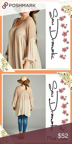 "HP PLUS Size Sandy Boho Peasant Tunic Top / Dress SALE!! Host Pick - Plus Size Sandy Boho V-neck peasant long full sleeve Tunic Top / Dress beautiful true to plus size!  Lace at top is not lined shows a little shoulder 💄   Velzera is a wonderful Plus Size designer! They create ""Free People"" chic designs since and since the FP  brand rarely has bigger sizes I am in love with Velzera! Velzera Tops Tunics"