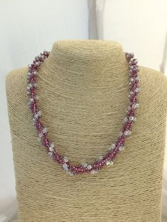 Woven Necklace.Swarovski Necklace Beadweaving with Swarovski Crystals and Miyuki Seed Beads.Spiral Necklace.Beaded Necklace.FREE SHIPPING