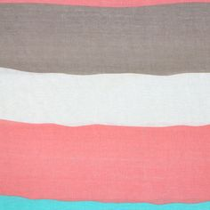 "Pink Aqua Wavy Cabana Stripe Cotton Jersey Blend Knit Fabric - Large wavy cabana stripes in lovely colors of neutral taupe,  pink, aqua blue, and ivory on a soft cotton jersey rayon blend knit. Fabric has a soft hand, nice stretch and drape, and is light weight.  Widest stripe measures 6"" (see image for scale).  ::  $6.25"