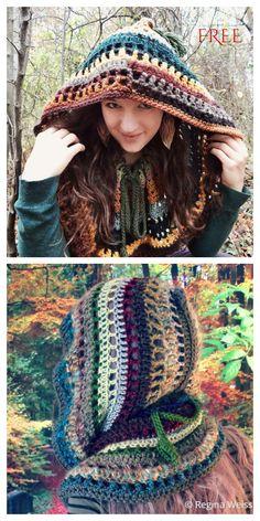 Crochet Hooded Cowl, Crochet Snood, Crochet Cowl Free Pattern, Crochet Blanket Patterns, Crochet Scarves, Crochet Stitches, Free Crochet, Snood Pattern, Crochet Cable