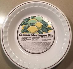 Lemon-Meringue-Pie-Dish-w-Recipe-Sunstone-Collection-Pie-Bakers-10-5 & Ceramic Pumpkin Pie Dish/Plate With Recipe 10\