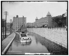 The Erie Canal at Rochester, New York. Photos taken between 1900 and 1906 by the Detroit Publishing Company, from the Library of Congress website. Erie Canal, Canal Boat, Paris Skyline, New York Skyline, Rochester New York, New York Photos, Great Lakes, Great Pictures, History