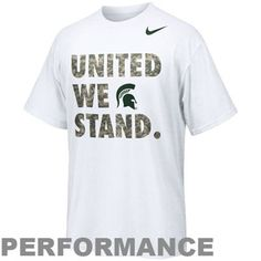 """Made of Nike's moisture-wicking Dri-FIT fabric, this super soft tee features camouflage """"United We Stand"""" lettering and a school logo printed on the front for a rousing shout out to MSU and the US Armed Forces!"""