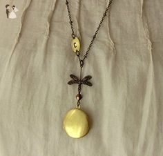 Personalized locket necklace dragonfly lariat in gold brass and antique bronze custom initial openable - Wedding nacklaces (*Amazon Partner-Link)