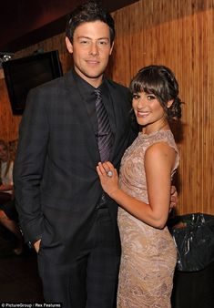 loving memory: Lea Michele joined the Glee cast and crew at a memorial service for her late boyfriend Cory Monteith, who she is pictured with in May 2012, in Los Angeles on Thursday