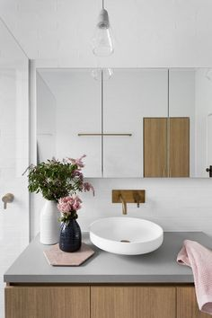 Flowers on gray minimal bathroom sink -- I love how modern this design looks + feels! Laundry In Bathroom, Bathroom Renos, Bathroom Renovations, Small Bathroom, Bathroom Ideas, Master Bathroom, Bathroom Designs, Bathroom Pink, Master Baths
