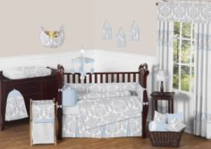 BLUE GRAY DAMASK GENDER NEUTRAL GIRL BOY NEWBORN BABY CRIB BEDDING COMFORTER SET Bought to match our bedding for Channing.