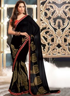 EXOTIC SELLERS!!  Decent Black Patch Border Work Georgette Designer Saree  Product Order link :http://www.usarees.com/sarees/decent-black-patch-border-work-georgette-designer-saree-2935  ITEM CODE: 2935 Color :Black Fabric :Faux Georgette Work :Embroidered Patch Border Occasion :Festival Reception Price : Rs3,143  Call or Whatsapp : +919377152141 SHOP NOW!!