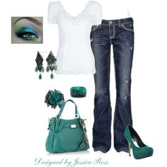 love color of accessories,but need lower heels and no ripped jeans....Untitled #18, created by jessicaross on Polyvore
