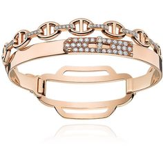 Hermès Kelly Rose Gold Bracelet ($36,200) ❤ liked on Polyvore featuring jewelry, bracelets, rose gold jewellery, pink gold jewelry, red gold jewelry, rose gold bangle and rose gold jewelry