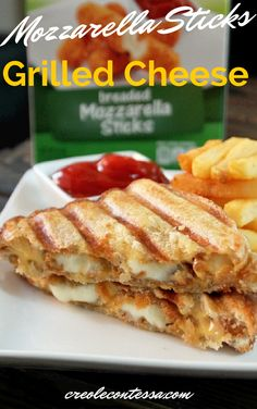 Mozzarella Sticks Grilled Cheese Sandwich-Creole Contessa Mozzarella Sticks Recipe, Cheese Bombs, Quesadilla, Wrap Sandwiches, Cheese Recipes, Yummy Recipes, Queso, Cooking Tips, Grilling