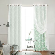 Aurora Home MIX and Match Curtains Muji Sheer Moroccan 84-inch 4-piece Curtain Panel Pair (Mint 84), Green, Size 84 Inches (Polyester, Geometric)