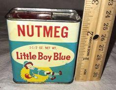 ANTIQUE LITTLE BOY BLUE NUTMEG SPICE TIN LITHO CAN VINTAGE NURSERY RHYME GROCERY