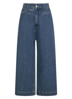 The Lena Wide-Leg Crop Jeans have a vintage-style cropped fit and wide leg in a mid-wash blue cotton denim with belt loops and pockets. Cropped Wide Leg Jeans, Wide Leg Palazzo Pants, 1940s Fashion, Vintage Fashion, Joanie Clothing, Denim Fabric, Trouser Pants, Vintage Style Outfits, Pretty Outfits