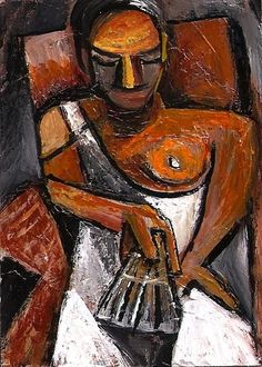 ACEO Woman with a Fan in the style of Picasso Cubism Abstract Penny StewArt #Cubism