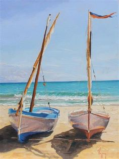 "Daily Paintworks - ""Two boats at the beach"" - Original Fine Art for Sale - © Marco Vazquez"