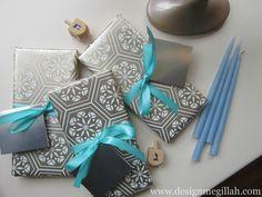 Wrapping Hanukkah gifts.
