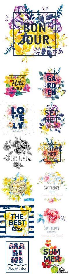 Акварельные цветы | Watercolor flowers. Print for T-shirt. Design frame artwork with slogan, 25xEPS