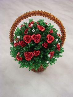 Корзина с розами | biser.info - всё о бисере и бисерном творчестве