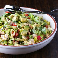 Chopped Salad with Lemon Chipotle Dressing-sun red bell pepper with sun dried or seeded fresh tomatoes, maybe add banana peppers
